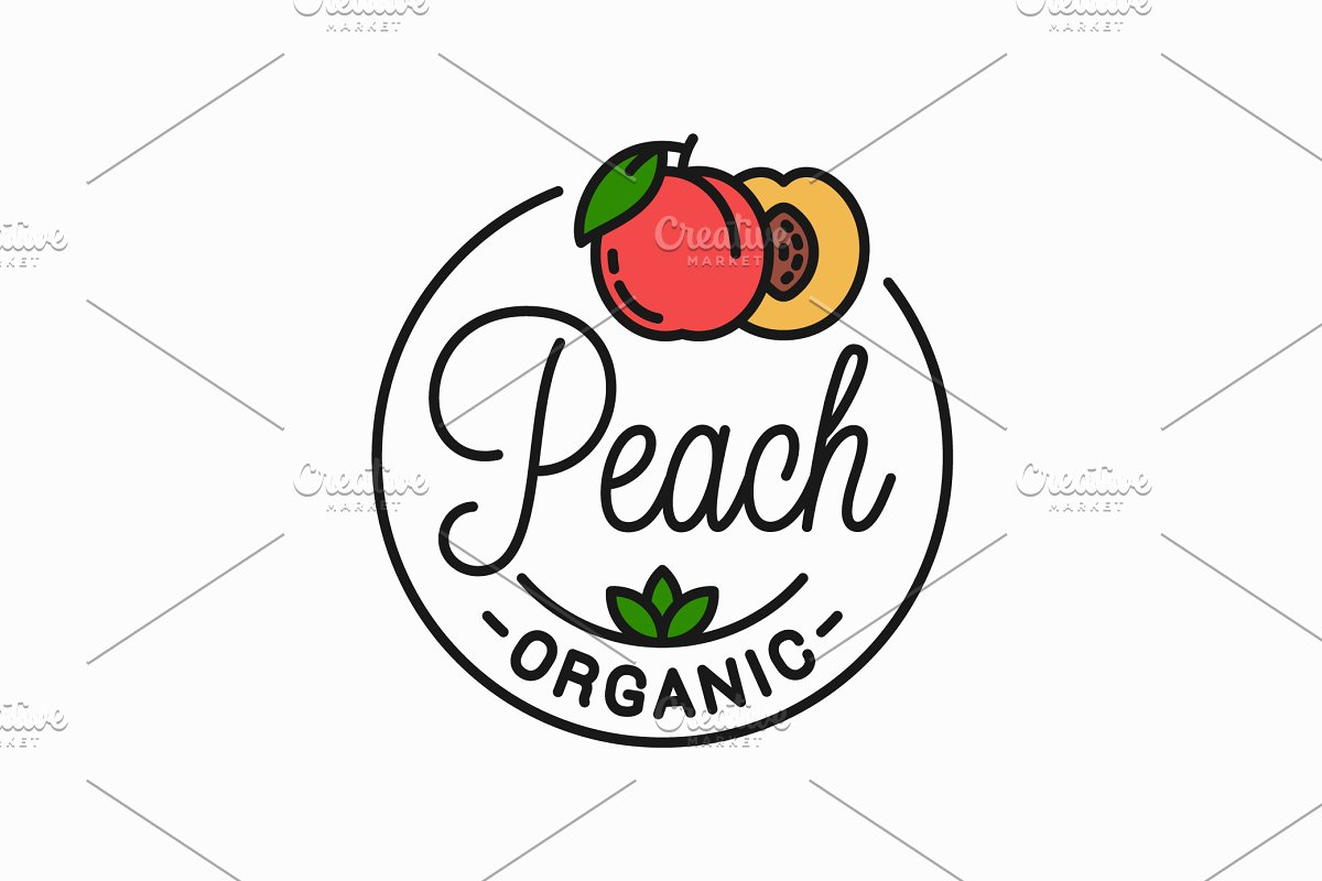 Peach fruit logo. Round linear logo.