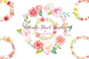 Watercolor pink floral wreaths