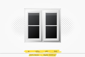 Window with white frame vector illus