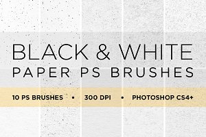 10 Black & White Paper PS Brushes