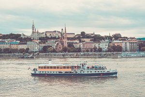 Tourist boat going along the Danube