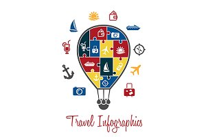 Travel infographics with air balloon