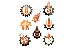 Set of icons depicting industry and