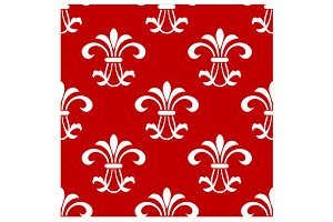 Red seamless pattern with floral ele