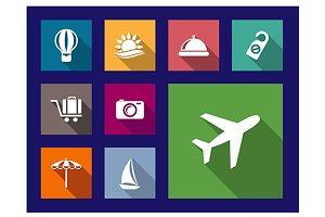 Set of flat travel and vacation icon