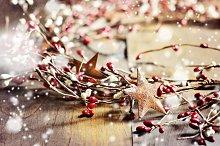 Christmas wreath and snowflakes