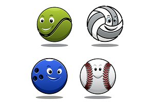 Set of four cartoon sports balls