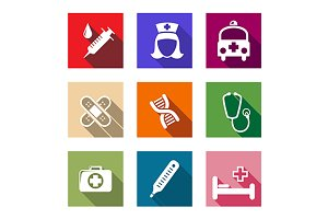 Set of flat medical icons