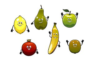 Set of happy fresh cartoon fruits