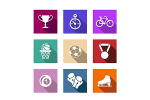 Flat sporting web icons