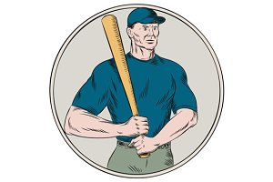 Baseball Player Batter Holding Bat E