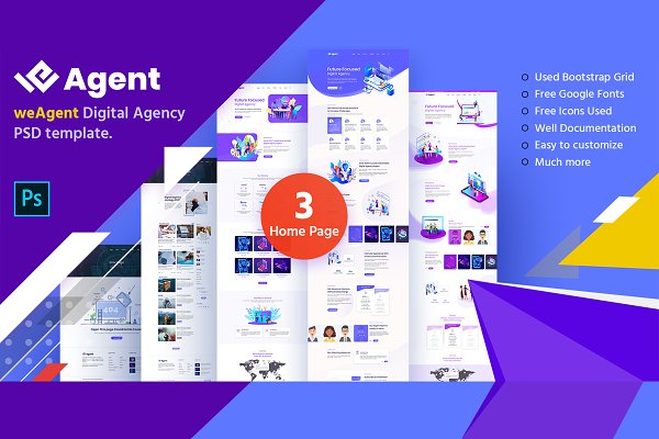 weAgent Digital Agency PSD Template