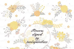 Flowers clipart yellow/grey