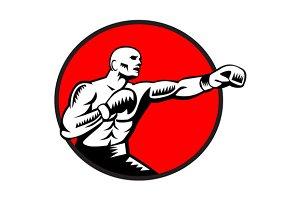 Boxer Jabbing Punching Circle Woodcu
