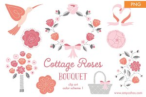 Cottage Roses Bouquet 1: Clip Art