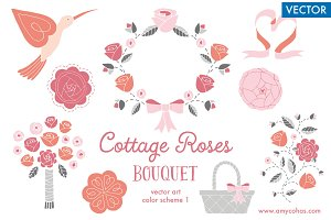 Cottage Roses Bouquet 1: Vector Art