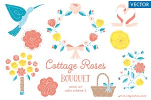 Cottage Roses Bouquet 2: Vector Art