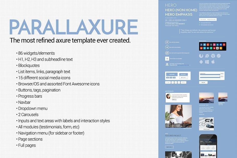 Parallaxure - Axure Template Library ~ Website Templates ~ Creative