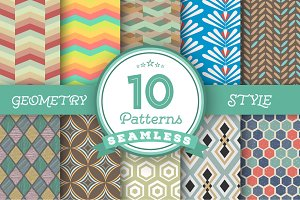 Set of 10 Vector Seamless Patterns