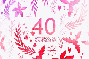 40 Watercolor backgrounds pack