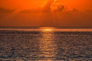 Tropical sunset ocean