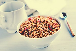 Granola (muesli) in bowl