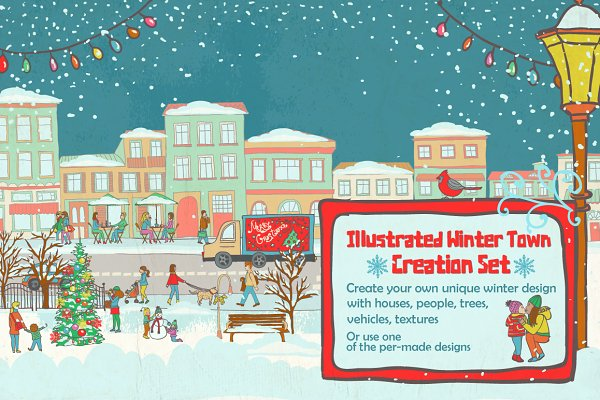 Illustrated Winter Town Creation Se…