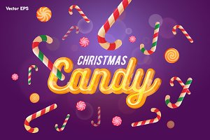 Christmas candy header and sweets