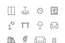 Home related furniture icons