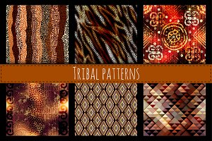 Seamless patterns in ethnic style.