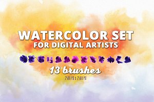 13 Predefined Watercolor Brush Set