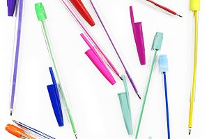 Colourful Neon Pens Against White