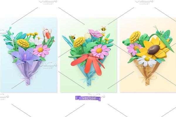 Wildflowers bouquet. Spring vectors