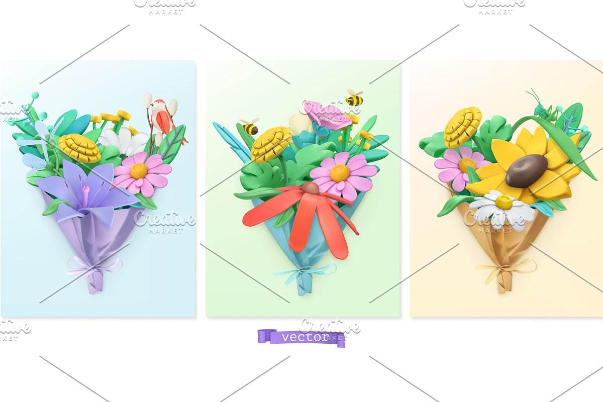 Wildflowers bouquet. Spring vectors in Illustrations - product preview 8