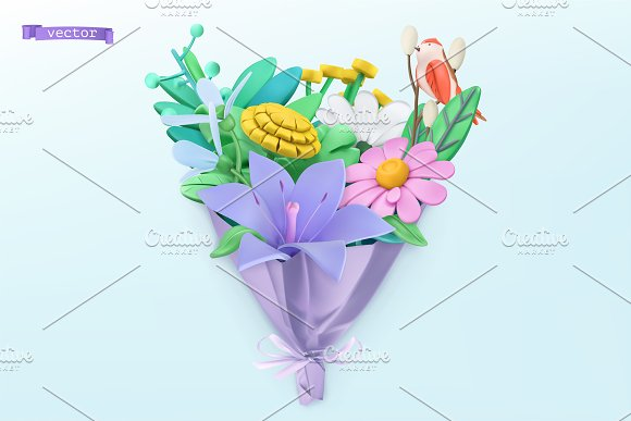 Wildflowers bouquet. Spring vectors in Illustrations - product preview 1