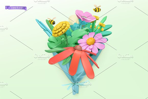 Wildflowers bouquet. Spring vectors in Illustrations - product preview 2