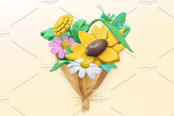 Wildflowers bouquet. Spring vectors in Illustrations - product preview 3