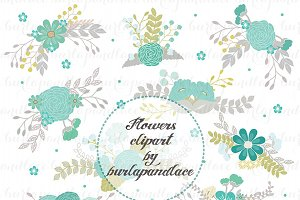 Flowers clipart teal/grey