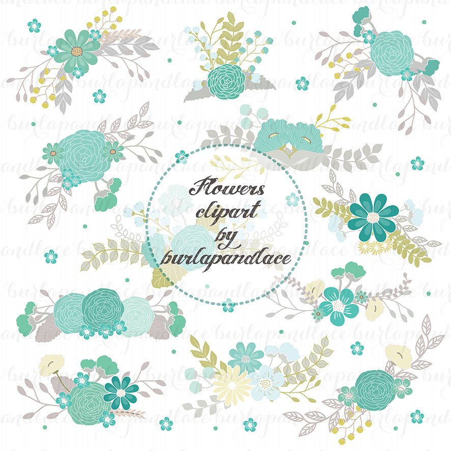 Flowers clipart teal/grey ~ Illustrations ~ Creative Market