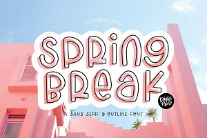 SPRING BREAK Sans Serif Outline Duo