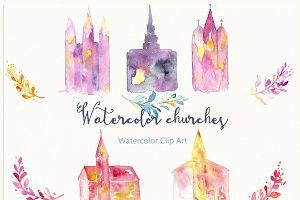 Churches. Watercolor Clip Art.