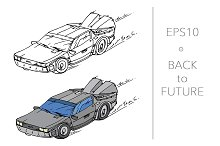 Hand drawn car from future. Vector