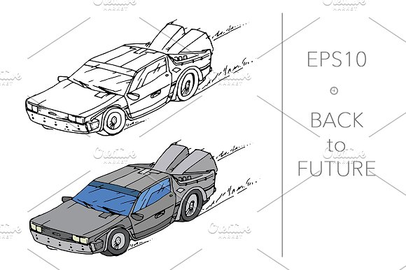 Hand drawn car from future. Vector - Illustrations