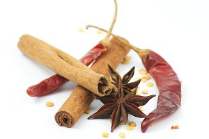 Cinnamon, chili pepper and anise