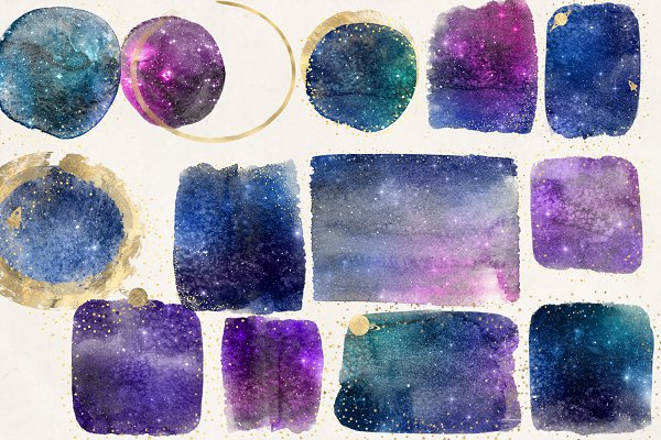 Galaxy & Gold Watercolor Elements
