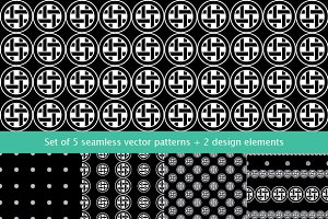 Set of 5 seamless vector patterns