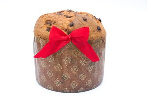 Panettone with chocolate isolated