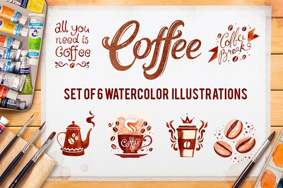 Coffee. Watercolor illustrations. - Illustrations