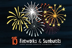 Hand drawn Fireworks & Sunbursts set