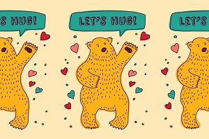 Bear with hearts. Let's HUG!